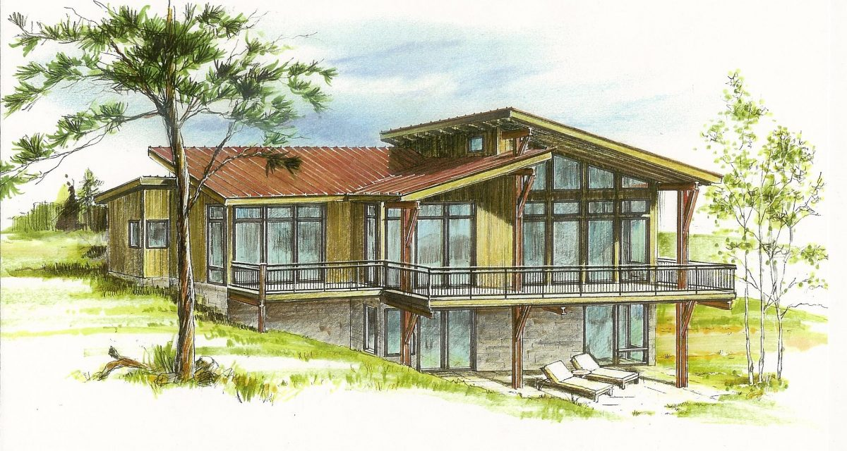 Lot 6 full color hand rendering evstudio architect Low pitch roof house plans