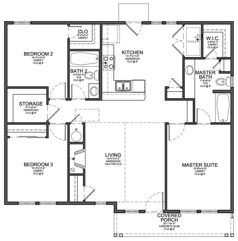 Simple Bedroom Blueprint floor plan for small 1,200 sf house with 3 bedrooms and 2