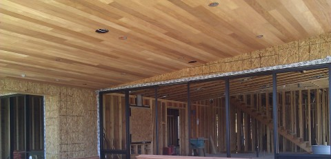 mountain modern custom mahagony soffit great room