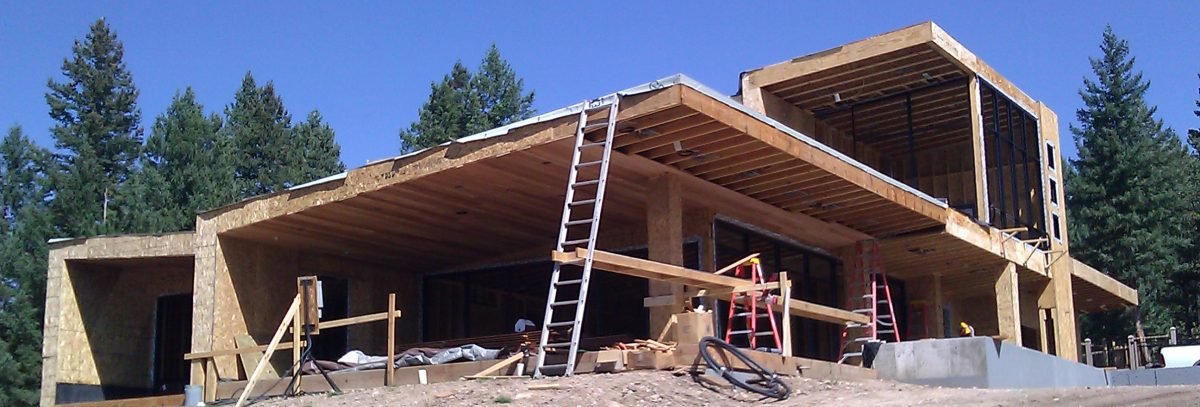 Mountain modern home construction update evstudio for House building contractors