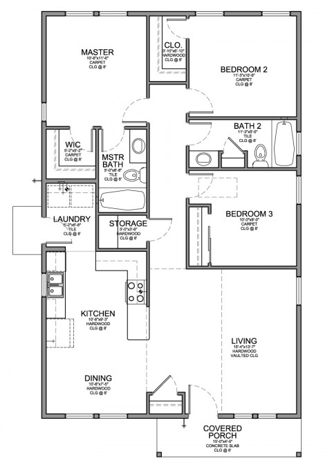 Floor plan for a small house 1 150 sf with 3 bedrooms and Four lights tiny house plans