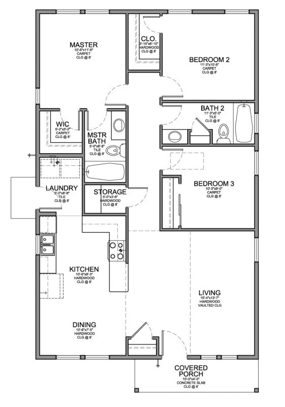 Floor plan for a small house 1 150 sf with 3 bedrooms and 3 bed 2 bath house plans