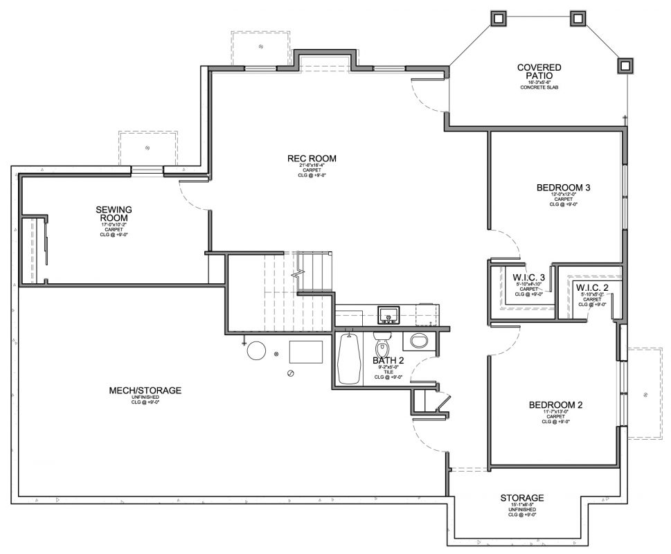 Santa fe style home with walkout floor plan evstudio Floor plan view