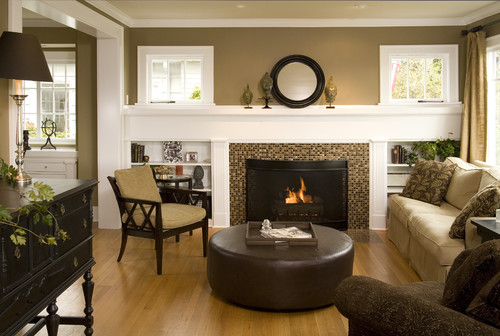 Evergreen custom residence fireplace design options for Traditional living room designs