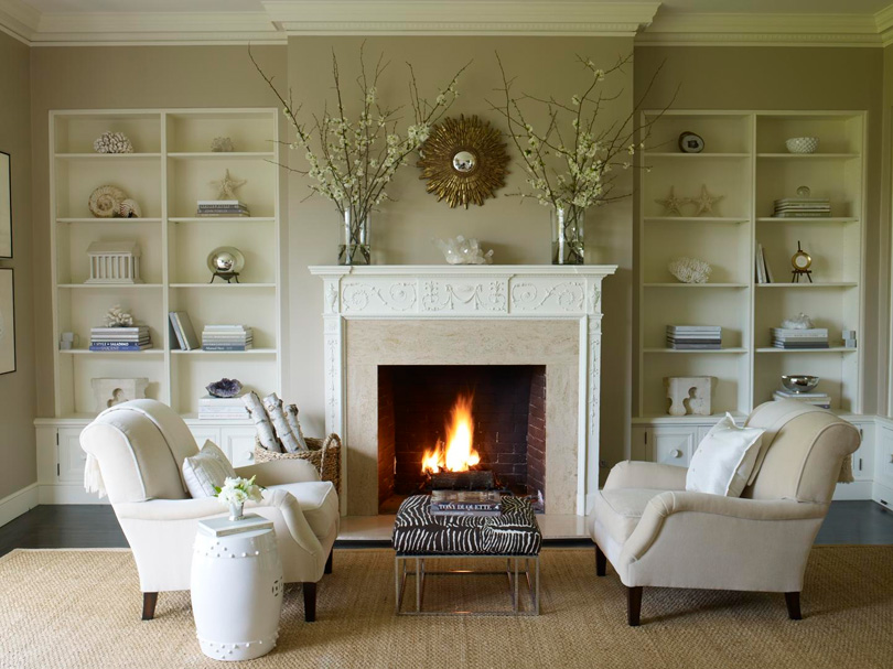 Evergreen custom residence fireplace design options Living room design ideas with fireplace