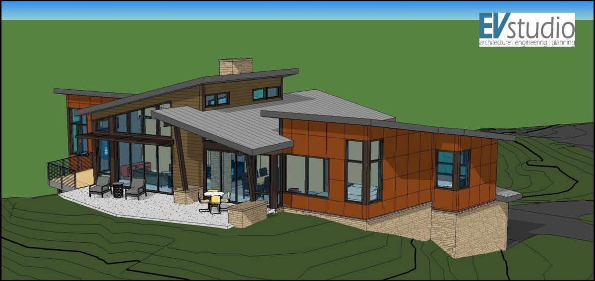 Snyder mountain road mountain modern home evstudio for Mountain modern house plans