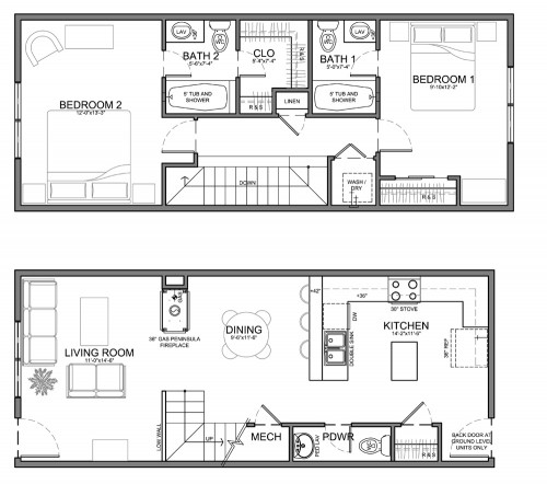 narrow townhome 14' plans