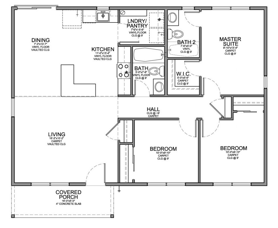 Charmant Floor Plan For Affordable 1 100 Sf House With 3 Bedrooms And 2