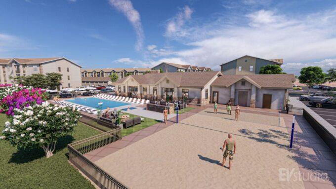 EVstudio: Ten West apartment clubhouse outdoor amenities view
