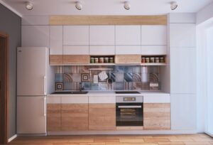 kitchen showing vertically aligned cabinets